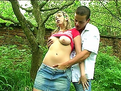 Naturally Busty Blonde Teen Sucks And Fucks A  In The Woods Porn Videos