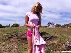 Foxy Blonde Slides Off Her Thong Then Fingers Her Cunt Outdoors Porn Videos