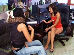 Classy And Cute Lesbians Pleasing Each Other With A Smooth Dildo In The Office Porn Videos
