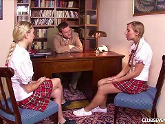 Two Blonde Teens In Plaid Skirts Fuck A Teacher Porn Videos