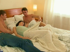 Brunette Wakes Up With Two Guys On Her Bed Ready To Double Penetrate Porn Videos