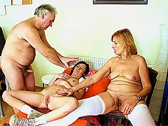 Horny Mature  Have Fun With A Lesbian Brunette Teen In A 3some Porn Videos