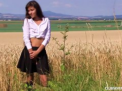 Sexy Chick Gets Naked In A Field And Diddles Her Clit Porn Videos