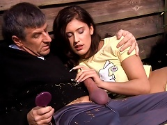 Teen Brunette With Flawless Body Fucked By Old Man At The Open Air Porn Videos