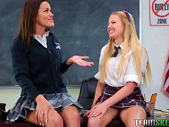 Classroom Threesome Session For A Pair Of Attractive Teen Ladies Porn Videos