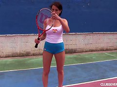 Big Naked Tits Are Sexy As She Masturbates On The Tennis Court Porn Videos