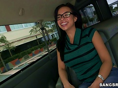 Brunette Teen With Glasses Shows Her Round Tits In The Mini Bus Porn Videos