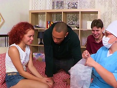 Sexy Redhead Gets Shared In Threesome Porn Videos