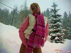 Adorable Blonde Wore A Skirt In The Snow To Fuck Her Pussy Porn Videos