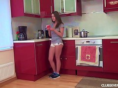Perky Boobs Teen Sits On The Kitchen Counter And Toys Her Cunt Porn Videos