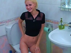 Blonde Girl With Perfect Shaved  And Natural Tits In The Toilet Porn Videos