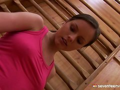 Sporty, Hot Teen Fucks Her Pussy On The Floor In The Gym Porn Videos