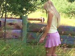Long Haired Blonde Cutie Enjoys Fingering Her Bald Snatch Outdoors Porn Videos