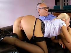 Young Blonde Receives A Senior Cock Porn Videos