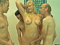 Lusty Blondie With Yummy Boobies Jessica Brandy Gets Three Cocks Inside Her Porn Videos