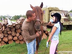 Her Riding Coach Takes Her Outside And Fucks Her On A Stack Of Wood Porn Videos