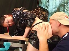 Leather-clad Brunette With A Shaved Pussy Enjoying A Mind-blowing Missionary Style Fuck Porn Videos