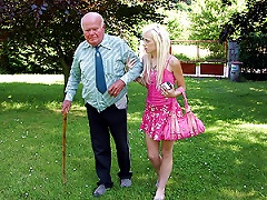 Slutty Blonde Teen Sucks And Fucks An Old Fart's Ugly Cock Outdoors Porn Videos