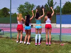 These Superb-looking Chicks Are Having An Orgy On The Tennis Court! Porn Videos