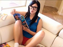 Nerdy, Cute Teen Reads A Comic Book While Massaging Her Clit Porn Videos