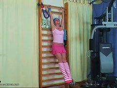 Workout Cutie With A Nice Pink Teen Cunt Fucks An Old Guy Porn Videos