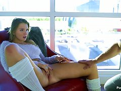 Curvy Babe In A Fuzzy Sweater Climbs Into Bed And Fucks Him Porn Videos