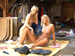 Steamy Blond Russian Lesbians Please Each Other With Dildo Fuck Porn Videos